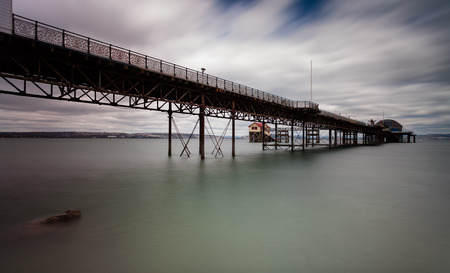 lifeboat station: Mumbles pier and lifeboat station in Swansea bay south Wales