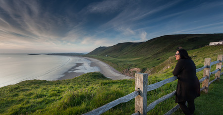 Rhossili bay on the Gower peninsular south Wales Stock Photo