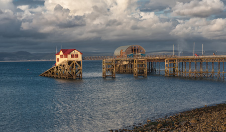 Mumbles pier and lifeboat station in Swansea bay south Wales