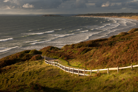 Coastal path at Rhossili bay on the Gower peninsular South Wales Stock fotó