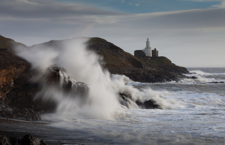 frank: Storm Frank at Mumbles lighthouse and Bracelet Bay, Gower, Swansea.