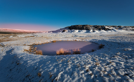 beacons: Frozen pool on the Brecon Beacons, South Wales Stock Photo