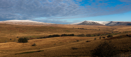 snow capped: Snow capped Brecon Beacon mountains in South Wales, UK