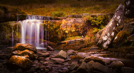 beacons: Waterfall at the foot of the walkway up Pen-y-fan, highest peak in the South Wales Brecon Beacons