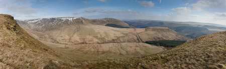beacons: Panorama of part of the Brecon Beacons showing Waun Rhyd, cwar y gigfran, allt lwyd and allt Forgan taken from the op of Craig-Y-Fan Ddu