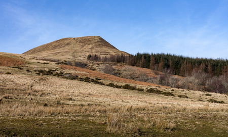 beacons: Craig-Y-Fan Ddu, Breacon Beacons Overlooking the Blaen y Glyn forest in the Brecon Beacons, a challenging 500m steep climb. Stock Photo