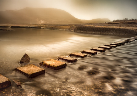 stepping: Stepping stones across Three Cliffs Bay river, Gower peninsula, Swansea