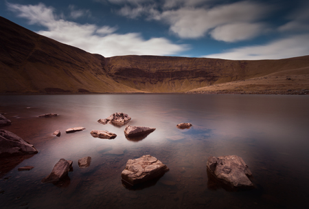 beacons: Llyn y Fan Fach Lake Part of the Brecon Beacons in South Wales, near the village of Llanddeusant, the Welsh name means Lake of the small beacon hill