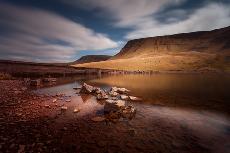 beacons: Llyn y Fan Fach Mountain Part of the Brecon Beacons in South Wales, near the village of Llanddeusant, the Welsh name means Lake of the small beacon hill