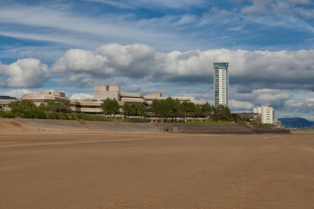 the meridian: Swansea Bay showing the County Hall and Meridian tower, tallest building in Wales. Stock Photo