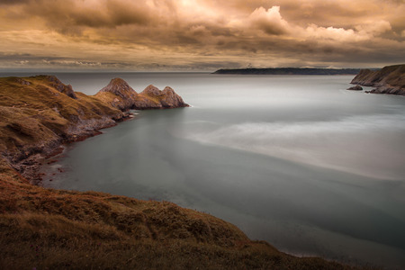 is well known: Three Cliffs Bay, a well known coastal beauty spot in South Gower, Swansea, South Wales.