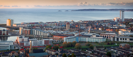 Swansea city panorama A morning view of Swansea city centre, UK, and the Bay area, taken from Kilvey Hill