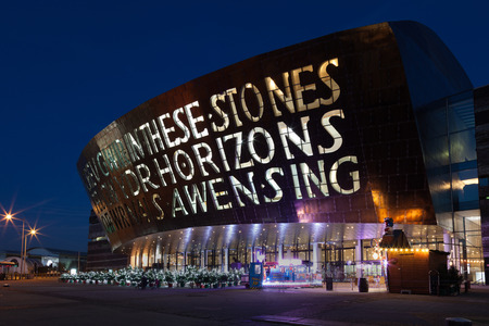 Wales Millennium Centre (locally known as The Armadillo) the centre for performing arts, located in the Cardiff Bay area of Wales. Editorial