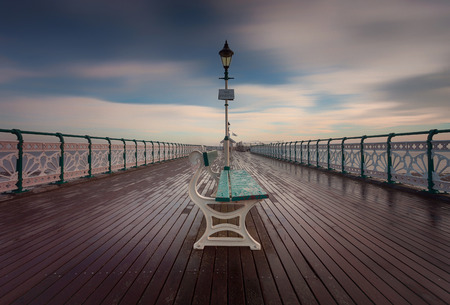 Penarth Pier, a 750 feet long Victorian pier on the Esplanade in Penarth, Vale of Glamorgan, South Wales Stock Photo