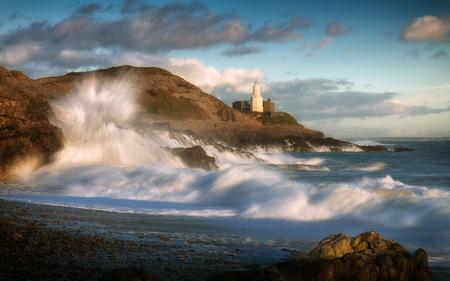 Storm Doris crashes onto Bracelet Bay rocks on the Gower peninsula, Swansea, South Wales.