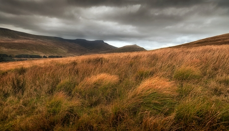 Storm clouds over Pen y Fan and Corn Du, the highest peaks in the Brecon Beacons, South Wales, UK
