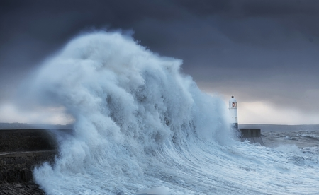 Hurricane Brian hits Porthcawl Colosal waves batter a lighthouse as it suffers hits twice in a week when hurricane Storm Brian lands on the Porthcawl coast of South Wales, UK.