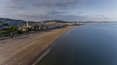 Editorial SWANSEA, UK - June 2, 2018: An aerial view of Swansea Bay, South Wales, UK, showing the old Guild Hall and Victoria Park.