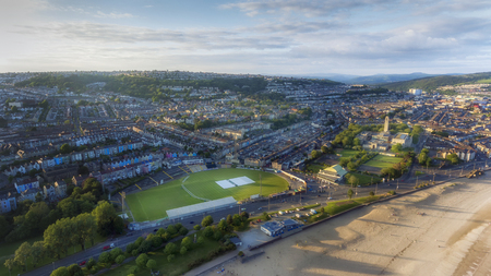 Editorial SWANSEA, UK - June 2, 2018: An aerial view of St Helens Rugby and Cricket Ground, Brynmill and Victoria Park, South Wales, UK,