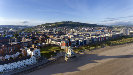 Editorial SWANSEA, UK - JUNE 20, 2018: Former Swansea observatory now being developed as a cafe restaurant