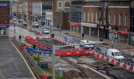 Editorial Swansea, UK - March 21, 2019: The abandoned Swansea Kingsway transformation project after the contractor Dawnus went into administration.