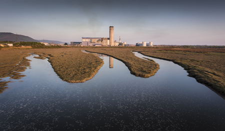 Editorial Port Talbot, UK - April 21, 2019: Baglan Bay power station, a 525MWe gas-fired power station situated on Baglan Moors just west of Port Talbot in South Wales, UK Sajtókép