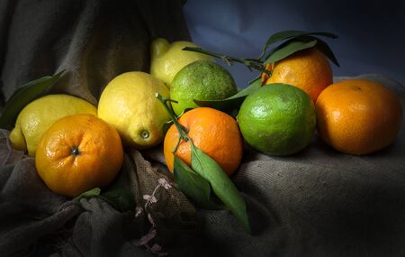 A still life of citrus fruit combining of lemons, limes and satsumas.