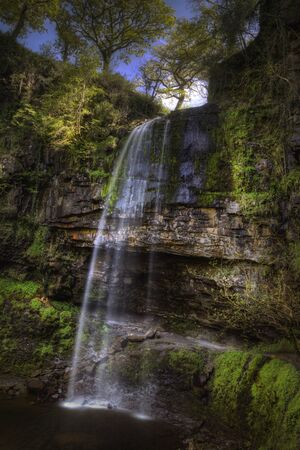 Henrhyd Falls near Coelbren, with a drop of 90 feet its the highest waterfall in South Wales, UK.
