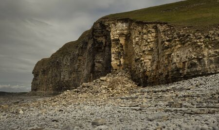 A landslide, an all to common occurence at the magnificent and dangerous coastline at Monknash on the Welsh Heritage Coast in South Wales, UK Stock fotó