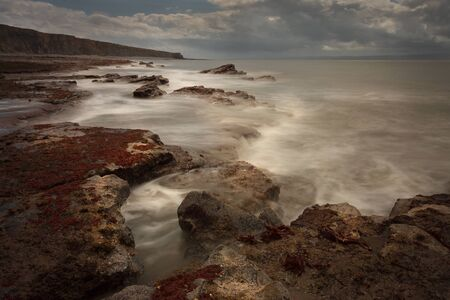 Monknash beach on the Heritage Coast in the Vale of Glamorgan in South Wales, UK, dangerous cliffs and coastline.