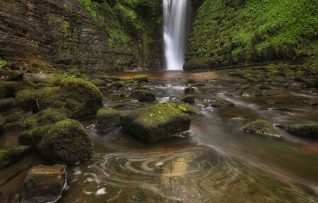 Sgwd Einion Gam, a very difficult and rarely photographed waterfall to get to around the Pontneddfechan part of Glynneath, South Wales, UK.