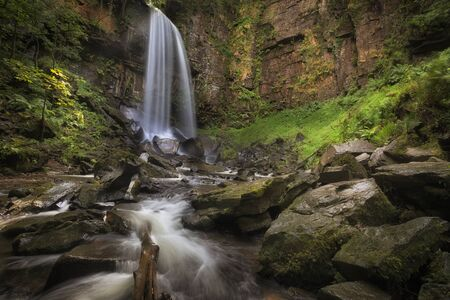 Waterfall and rocks at Melincourt The waterfall at Melincourt Brook in Resolven, South Wales, UK