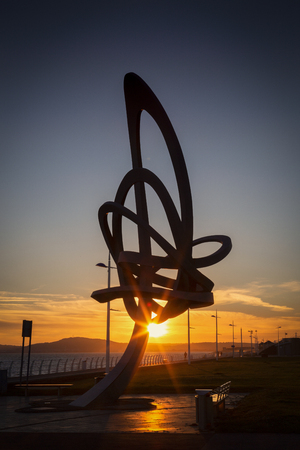 Editorial Port Talbot, UK - June 20, 2019 Wales largest sculpture standing 12 metres high and weighing 11 tonnes on Aberavon sea front, designed by artist and sculptor Andrew Rowe