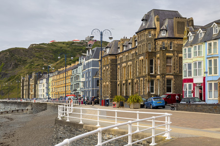 Editorial Aberystwyth, UK - July 08, 2019: Victorian housing and B&B at North Beach, Aberystwyth, an ancient market town, administrative centre, community, and holiday resort in Ceredigion, Wales, UK.