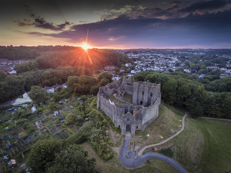 Editorial Swansea, UK - July 14, 2019: Sunset at Oystermouth Castle, a Norman stone castle in South Wales overlooking Swansea Bay on the east side of the Gower Peninsula near the village of the Mumbles.