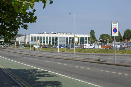 Editorial Swansea, UK - July 23, 2019: The LC2 leisure centre on Oystermouth road which re-opened to the public on 1 March 2008 in Swansea, South Wales, UK Редакционное