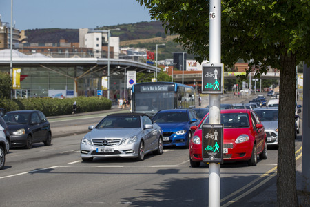Editorial Swansea, UK - July 23, 2019: Road safety crossing display for pedestrians and cyclists on Oystermouth road in Swansea, South Wales, UK