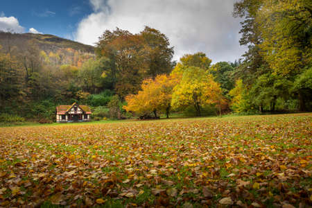 The pavilion at Craig y Nos Country park in the Swansea Valley, South Wales UK, where guests can dress for tennis or croquet. Imagens