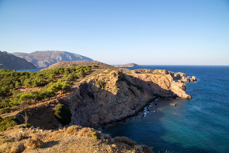 horizontals: View over the Mediterranean and Telendos, Dodecanese Islands, Greece.