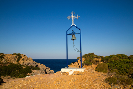 horizontals: Bell and Cross on Telendos Island, Greece.