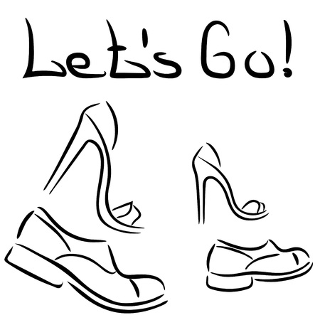 Man and woman. Let's go. Women's and men's shoes. T-shirt print. Text Let's go! Illustration