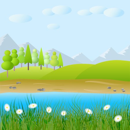 Vector cute flat landscape with mountain, forest,lake and clouds background template illustration
