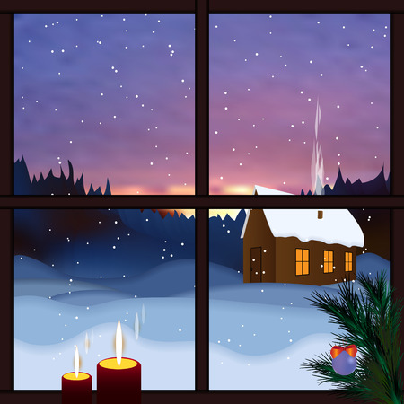 Winter window. Snowy landscape, view from the window. Falling snow, winter dawn, snow forest. Merry Christmas and happy new year greeting postcard. Christmas background with window, mountain, trees.