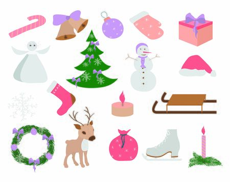 Set of Christmas and New Year elements, hand drawn style -animals and other elements. Vector illustration.