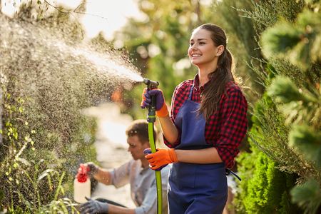 Work in the garden. Smiling girl gardener sprays water and a guy sprays fertilizer on plants in the beautiful nursery-garden on a sunny day.