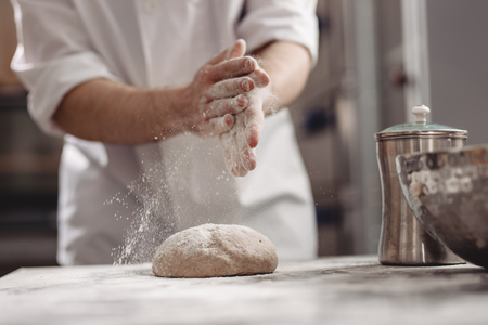 Baker adds flour to dough on the table in the bakery 版權商用圖片