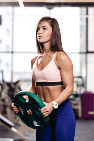 Athletic young brunette girl holds a heavy plate in her hands in the modern gym Stock Photo