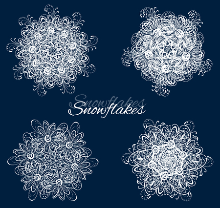 rime frost: Vector snowflakes set for Christmas design