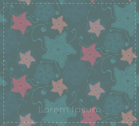 dim: Dim card with abstract flowers and leaves on grey background with space for your text. Illustration