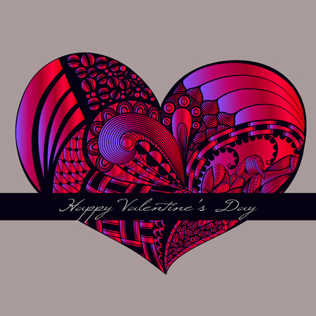 crimson: Crimson valentine heart in floral style. Celebration background with heart and place for your text. Vector illustration